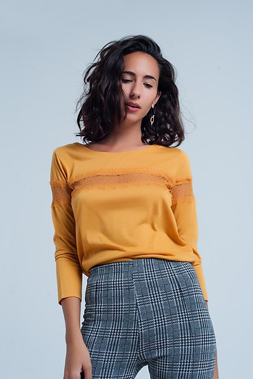 Mustard 3/4 Sleeve T-Shirt With Eyelash Trim