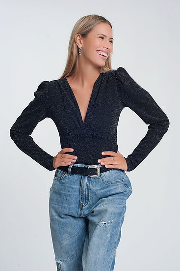 Glitter Long Sleeve v Neck Body in Black