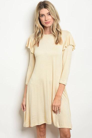 3/4 Sleeve Ruffled Jersey Tunic Dress