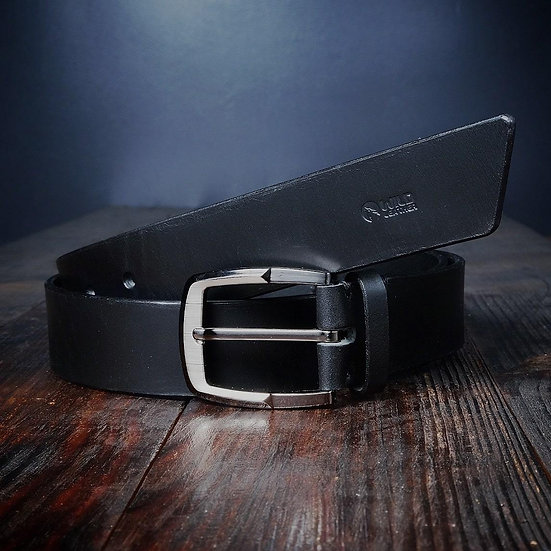 "The ""Black Belt 3,5"" -  3,5 Cm Wide Black Leather Belt"
