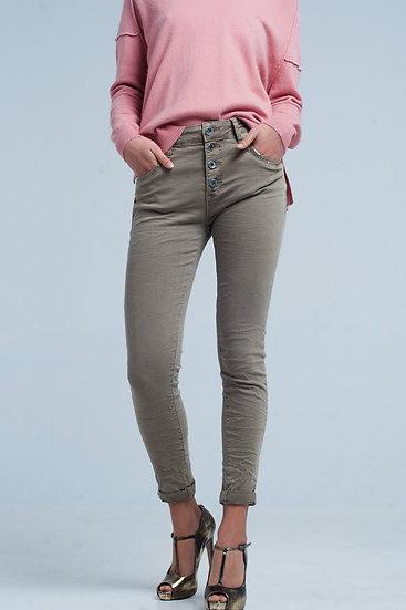 Khaki Boyfriend Pants With Sequins