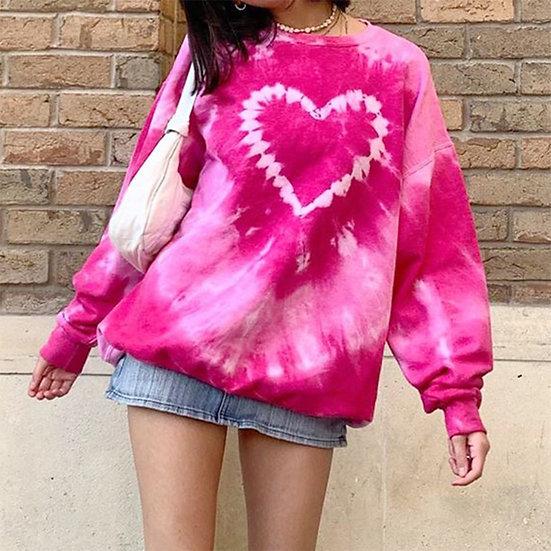 Heart Tie-Dye Oversized Sweatshirt in Pink
