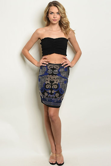 Womens Black Royal Fitted Skirt