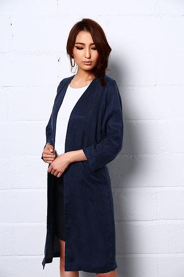 Night Dance Long Coat in Blue