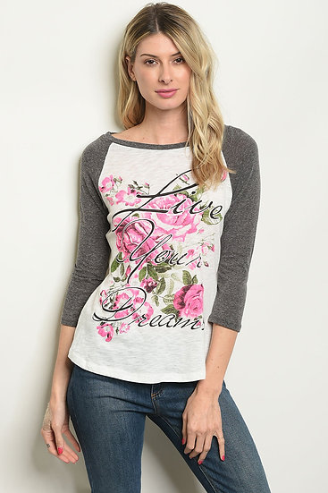 "Ivory Charcoal ""Live You Dreams"" Print Top"