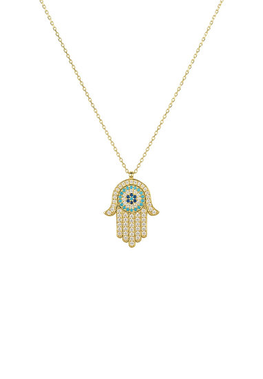 Hamsa Hand With Evil Eye Pendant Necklace Gold