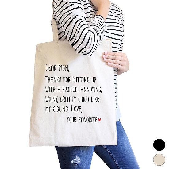 Dear Mom Heavy Cotton Canvas Bag Popular Graphic Designed Tote