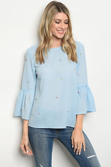Rhinestone Blue Top