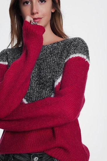 Chevron Color Block Sweater in Red