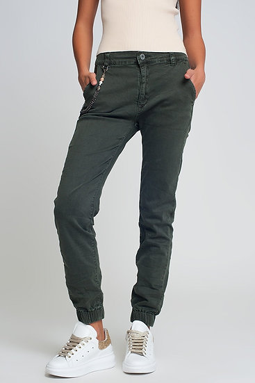 Cuffed Utility Pants With Chain in Khaki