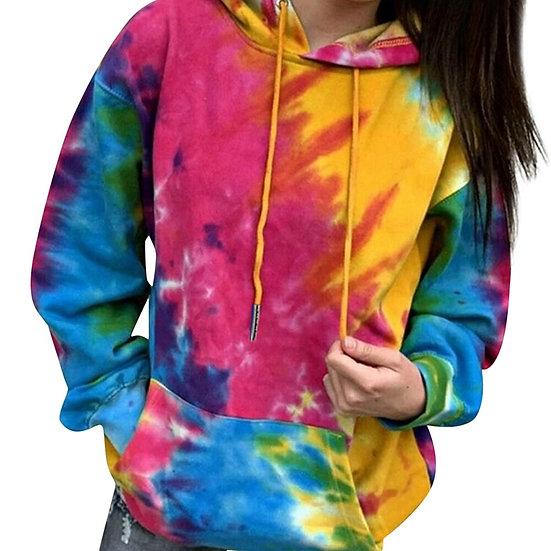 Zebery Tie Dye Hooded Sweatshirt