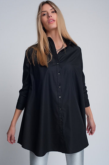 Oversized Poplin Shirt in Black