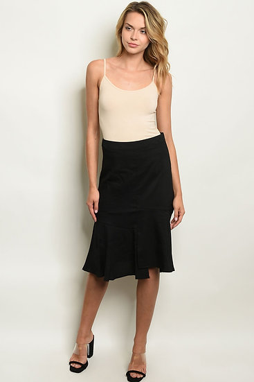 Fitted Waist Flowy Midi Skirt (Black/Brick)