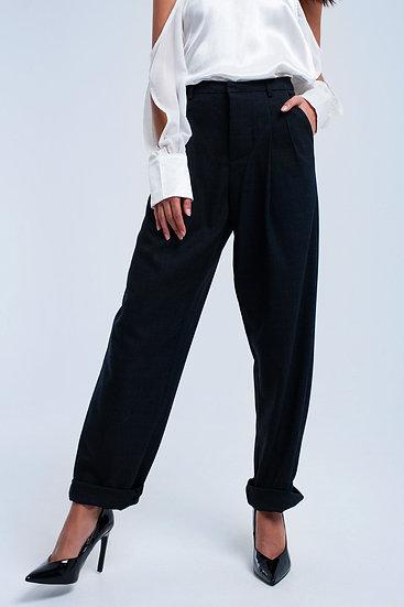 Dark Gray Tartan Pattern Pants