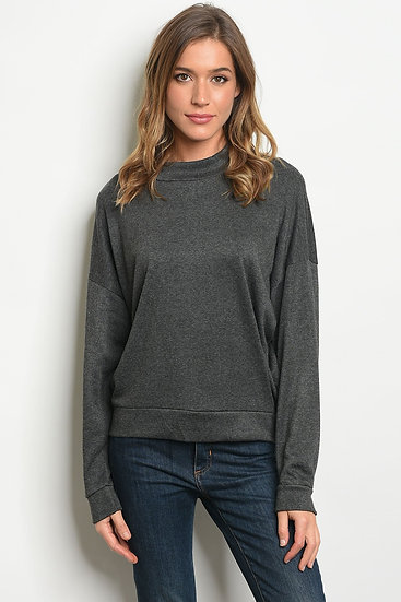 Charcoal Round Neck Knit Top
