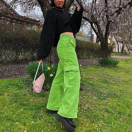 Harajuku Wide Leg Trousers - Green
