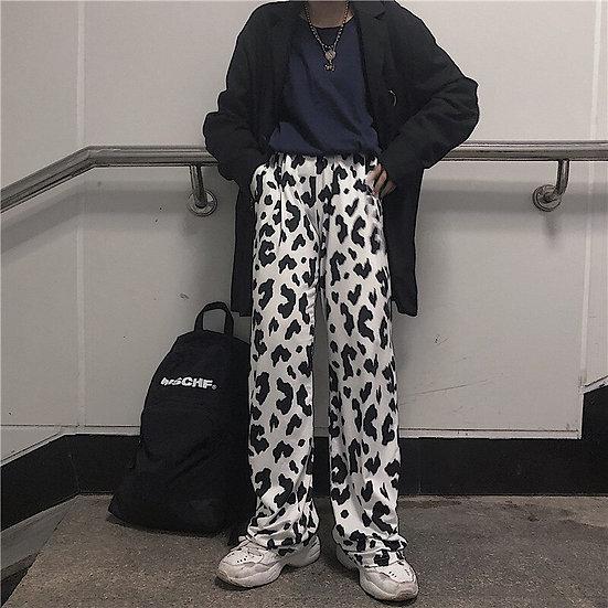 Harajuku Cow Print, Wide Leg Trousers