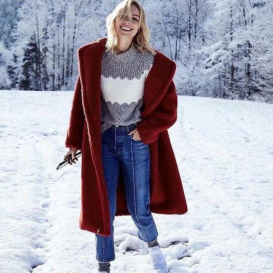 Long Autumn Fleece Coat