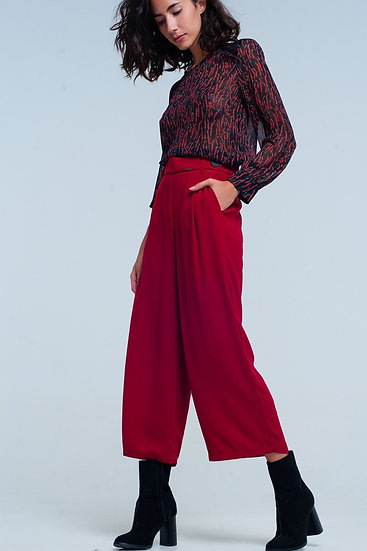 Red Wide Leg Culottes With Belt Detail