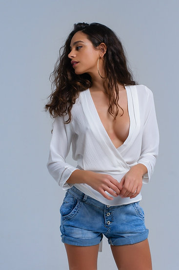 White Crossed Shirt With Ribbons