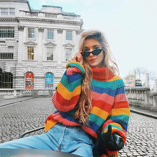 Rainbow Turtleneck Oversized Pullover