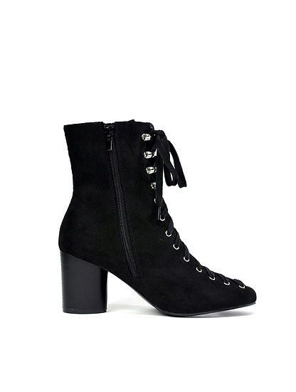 Ladies Block Heel Front Lace Up Boots UK Size 3-8