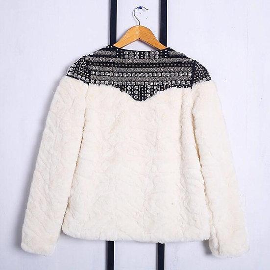 Fleece Rivet Faux Fur Patchwork Long Sleeve Coat