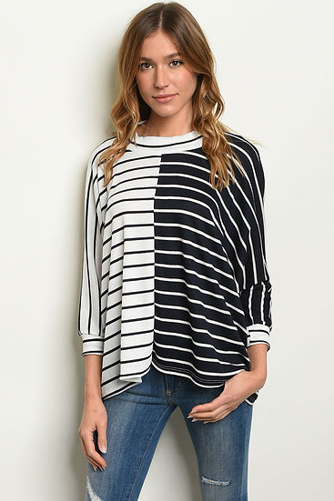 Navy Striped Jersey Tunic Top