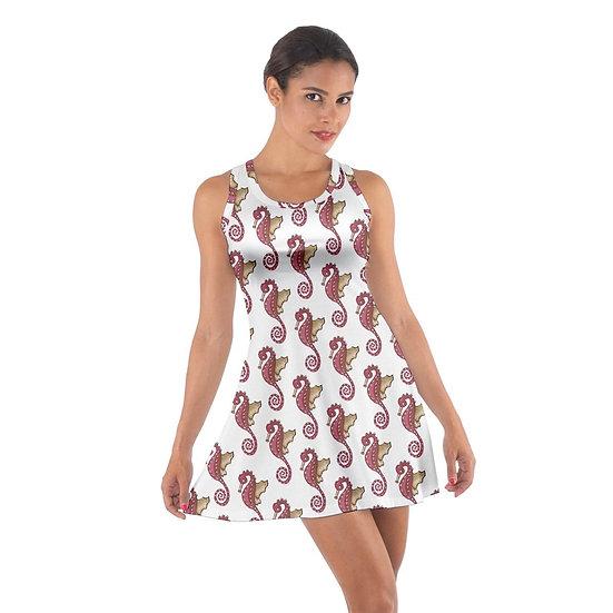 Cotton Dress Red Seahorse Pattern Cotton Racerback Dress Sharon Tatem