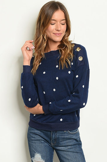 Round Neck Polka Dots Tunic Top