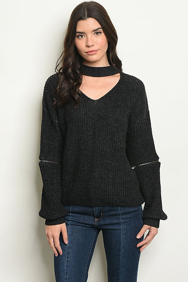 Choker Neck  Knit Sweater