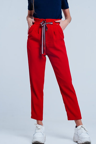 Paper Bag Waist Tie Front Pants in Red Colour