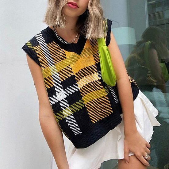 Plaid Sleeveless Knitted Womens Tops