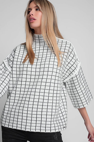 Knit Sweater With High Neck in Cream Check Pattern