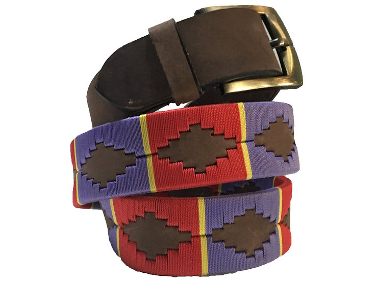 Unisex Argentinian Brown Leather Embroidered Gaucho Polo Belt