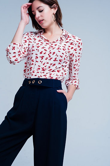 Blouse With Flower Print in White