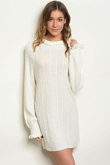 Ivory High Neck Sweater Dress