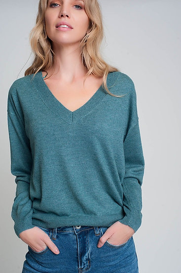 Fine Knit Green Sweater With v Neck