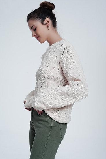 Woven Sweater in Cream