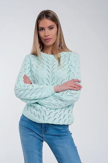 Crochet Jumper in Turquoise