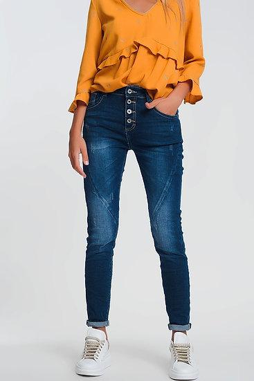 Boyfriend Jeans With Dark Wash