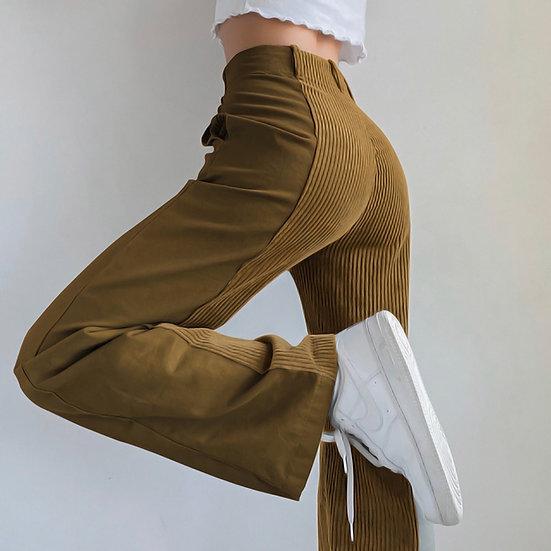 Zebery Patchwork Corduroy Trousers - 4 Colours