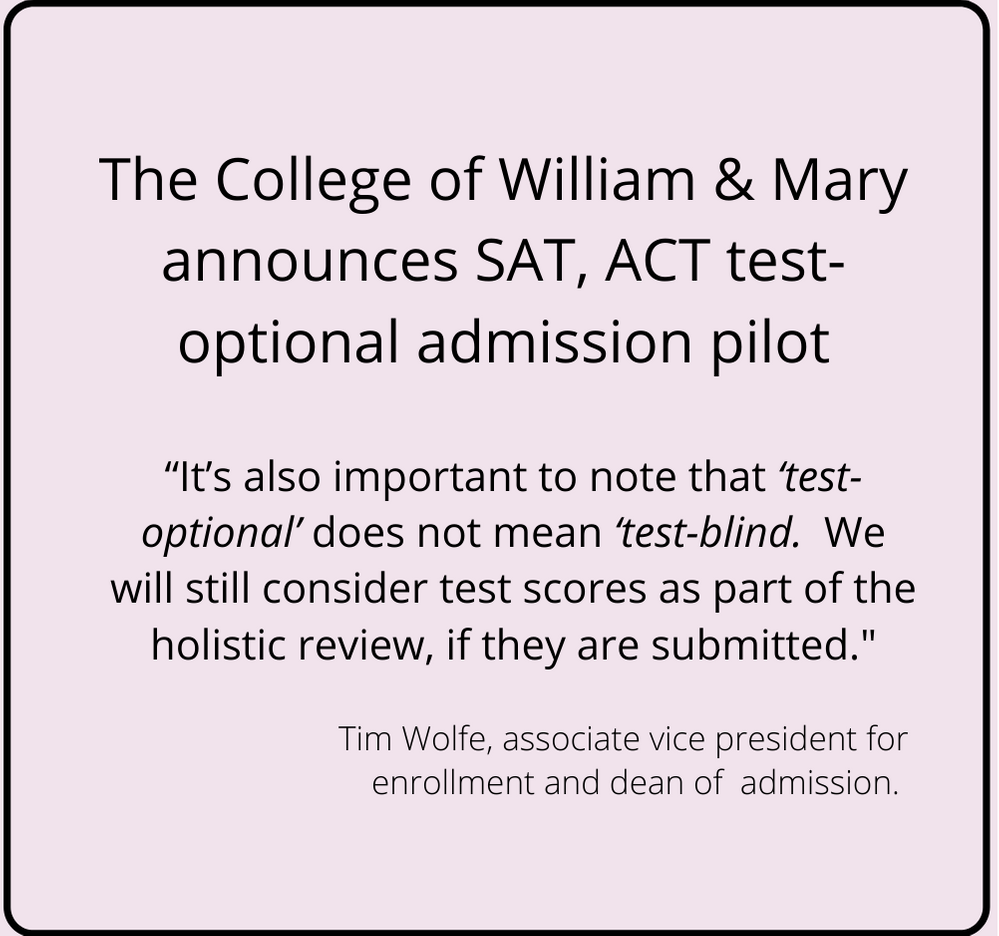 College of William & Mary announces test optional pilot