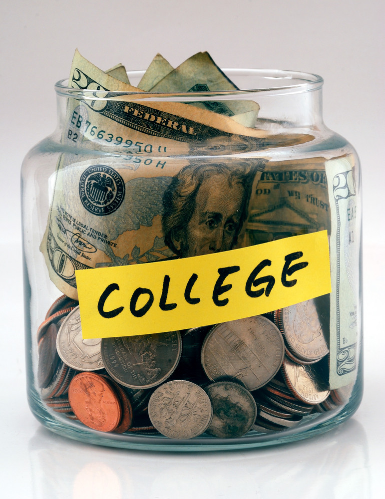 Jar of money for college