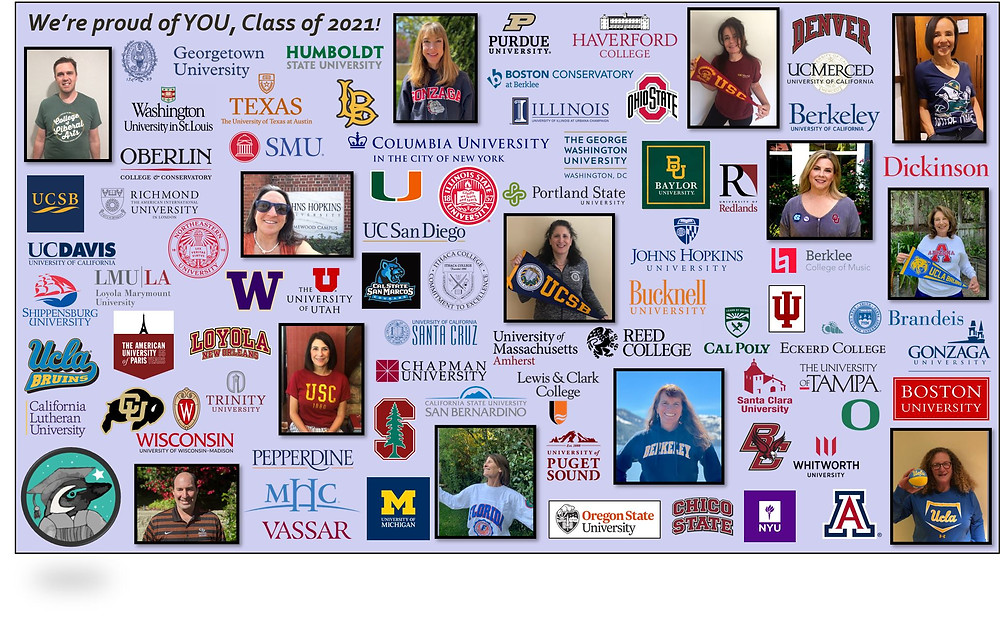 Images of Magellan college counselors and college logos