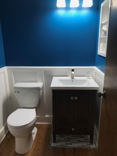 After shot of vanity and toilet