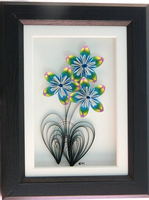 Blue Tie-Dye Flower Wall Hanging