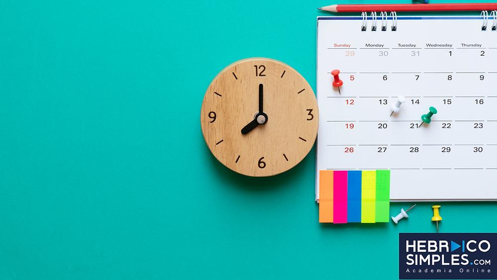 calendarios, relogio, objetivos, marcaçoes, aprender hebraico