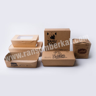 Kotak Makan Kertas Kraft Paper Lunch Box Food Pail