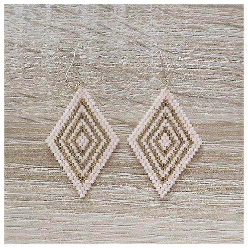 Boucles Diamante - Doré / Pêche